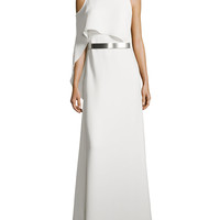 Boat-Neck Gown with Asymmetric Flutter