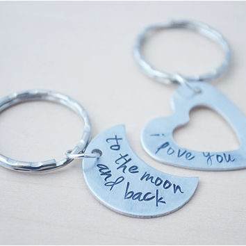 I Love You to the Moon and Back Keychains - Hand Stamped Best Friend Keyring - Moon Keychain - Heart Keychain - Long Distance Love - Couples