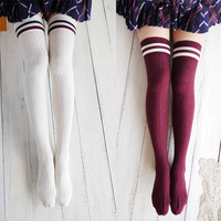 Harajuku Preppy Stripped Over Knee Socks
