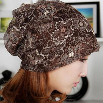 miaoxi Fashion Summer Thin Women Hat Floral Casual Adult Ladies Caps Cheap Beauty Bonnet Polyester Female Beanies Skulliess