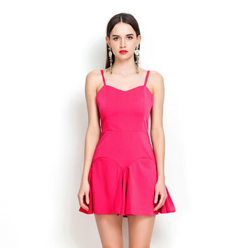 Magenta Pleated Cutout Back Mini Skater