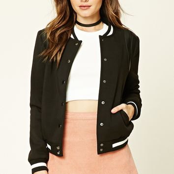 Faux Leather Trim Bomber Jacket