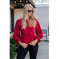 Say You Will Long Sleeve Blouse : Cranberry