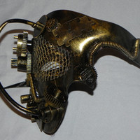 Golden Bronze Phantom of the Opera Mask with Steampunk Detailing - Steampunk Mask
