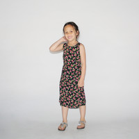 Kid's Vintage 1990s Black Floral Summer Day Dress