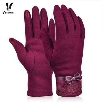 VBIGER Women Fashionable Lace Bowknot Touchscreen Gloves Female Winter Warm Gloves Elegant Flocking Warmer Lace Gloves Mittens
