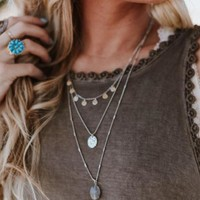 Drops Of Jupiter Layered Necklace - Silver