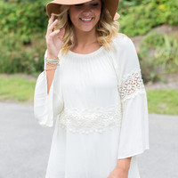Bell Sleeve Lace Detail Top - Ivory