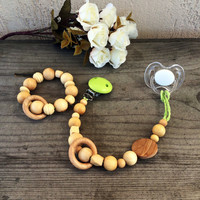 Teething Set Natural Wood Beads dummy clip bracelet pacifier organic baby teething rattle baby shower gift Eco Friendly Waldorf baby