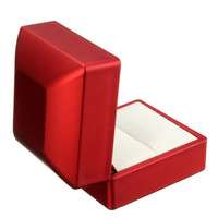 Red Solid Polish Lighted Ring Jewelry Box