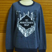 T-Shirt Winter Fashion Cold Marauder's map T-shirt Harry Potter Marauders Tee Crew Neck Sweater Designed Dark Gray Sweatshirt  S M L XL XXL