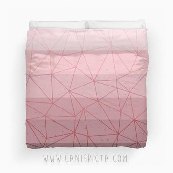 Millennial Dust Ombre Duvet Twin King Queen size Pink Rose Dusky Mauve Print Bedroom Room Decor Decorative Geometric Pattern Pastel Purple