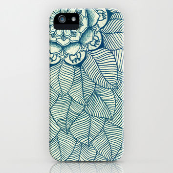 Emerald Green, Navy & Cream Floral & Leaf doodle iPhone & iPod Case by Micklyn