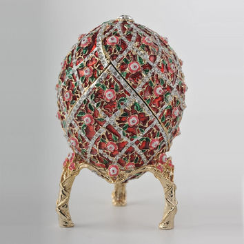 Red Roses Faberge Egg Trinket Box With a Surprise Colorful Ball Inside Handmade by Keren Kopal Decorated with Swarovski Crystals