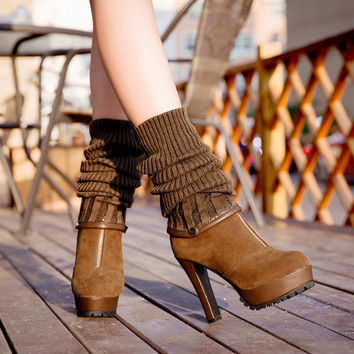 Removable Elastic Knee-High Canister Multifunction Boots