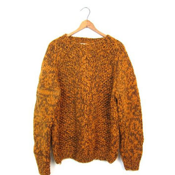 Oversized Chunky Knit Sweater Thick WOOL 50s Sweater Orange Brown Marled Knit Pullover Slouchy Cable Knit Retro Sweater Womens Medium