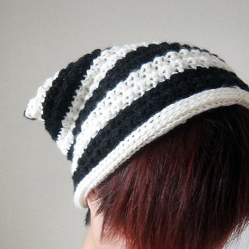 Black and Cream White Strips Cat Ear Beanie, Women Hat, Crochet Hat, Cat Ears, Winter Accessories, Hand Crocheted Hat, Unique 2 Sides Hat