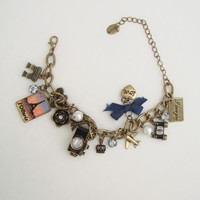 Claire's Travel Charm Bracelet Camera Binoculars Bicycle Airplane Jewelry