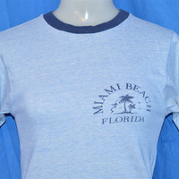 80s Miami Beach Florida Palm Tree Rayon Tri Blend Ringer t-shirt Extra-Small - Small