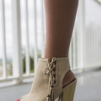 Chic My Interest Stone Open Toe Booties