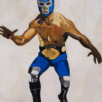 "Blue Demon. Mexican Wrestler. Oil on Canvas. 48"" x 36"". Wrestling."
