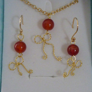 Sale! Red Agate Jewelry Set, Red Agate Necklace, Red Agate Earrings, Autumn Inspired, Christmas  Berries, Gold Bow Necklace, Bow Earrings