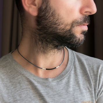 Men's Necklace - Men's Choker Necklace - Men's Leather Necklace - Men's Jewelry - Men's Gift - Boyfriend Gift - Guys Jewelry - Husband NL13