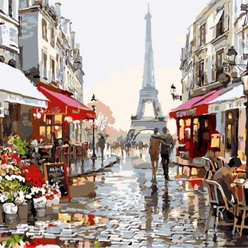 40*50CM DIY Oil Painting Paint By Numbers Digital Hand-painted Living Room Office Decor Painting Paris Street Eiffel Tower