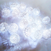 Holiday Lights, Party Lighting, Bedroom Decor lamps, Fairy Lights, String Lights,20 Lace Crocheted balls, garland light