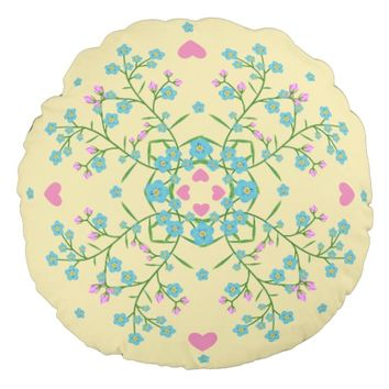 Forget-Me-Nots and Pink Hearts Mandala Round Pillow