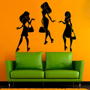 Fashion Girls Wall Decals Shopping Time Women With Begs Beauty Shop Vinyl Decal Sticker Woman Model Living Room Bedroom Art Dorm Decor kk853