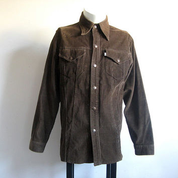 Vintage 1970s Mens Shirt LEVI STRAUSS Dark Brown Corduroy Shirt Jacket Medium