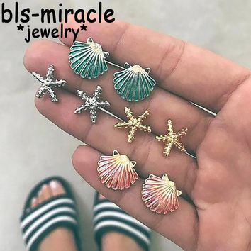 Bls-miracle 4 Pair/set Bohemia Mix Shell Earrings For Women Gold Starfish Beads Beach Earring Girl Party Gift Statement Jewelry