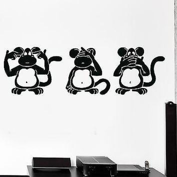 Wall Stickers Three Wise Monkeys Animals Buddhism Japan Vinyl Decal Unique Gift (ig1318)