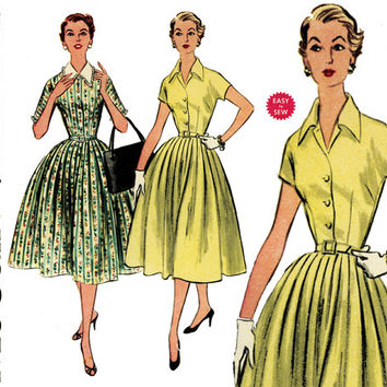 1950s Dress Pattern Bust 36 McCalls 3153 Shirtwaist Full Skirt Fit & Flare Rockabilly Dress Summer Day Evening Womens Vintage Sewing Pattern