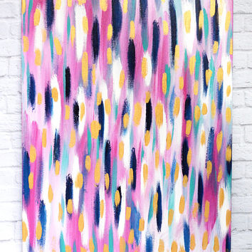 Pink Brushed 18x24 canvas panel abstract, navy and pink, turquoise and gold, abstract modern, trend, girly bold painting, original painting