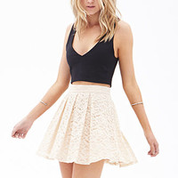 Pleated Lace Skater Skirt