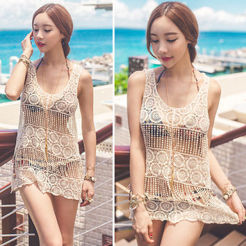 Crochet Beach Cover Up Sleeveless Knitted Top
