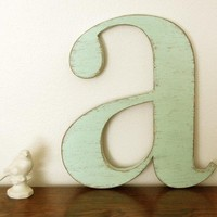 nursery wall letters wood - Letter A - wood signs wall sign cottage decor Seafoam Green - Sweet Mint