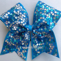 Blue and Silver Sequin Cheer Bow