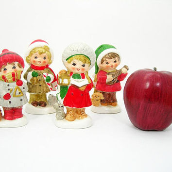 Napcoware Christmas Children Carolers Set of 4 Figurines - Vintage 1960-70s Era Holiday Decor Collectibles - Made in Japan - Bisque Ceramic
