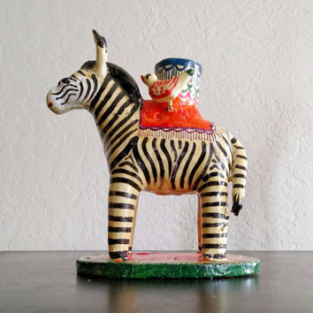 Vintage Mexican | Ceramic | folk art | zebra | candle holder | Heron Martinez | 1970s | boho decor | pottery | cebra  | zebre | taper candle