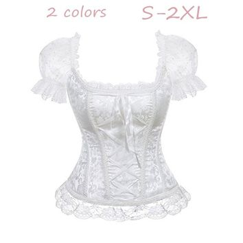 Princess Renaissance Corset with Floral Ruched Sleeves