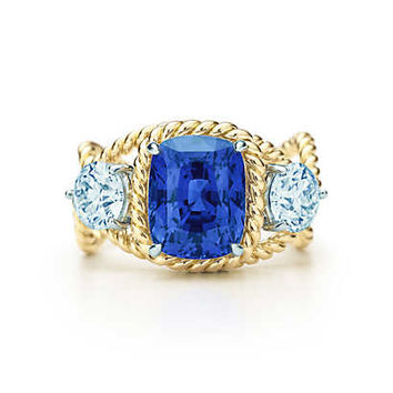 Tiffany & Co. - Tiffany & Co. Schlumberger® Rope ring with a 5.46-carat unenhanced sapphire.