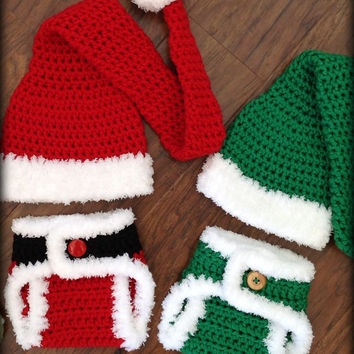 Crochet Diaper Cover Pattern and Hat PatternNewborn Photo Prop - Soaker Pattern - Santa and Elf Set