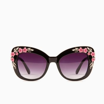 ShopSosie Style : Flower Power Sunglasses in Black
