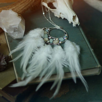 moonglow // sparkly crescent moon & feather necklace