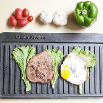 Barbecue BBQ Stovetop Roasting Cast Grill Hot Dog Hamburger Cook Breakfast Camp