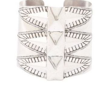 Etched & Studded Metal Cuff Bracelet by Charlotte Russe