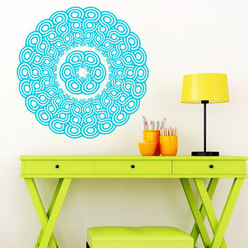 Wall Decal Vinyl Sticker Decals Art Home Decor Mural Mandala Ornament Indidan Geometric Moroccan Pattern Yoga Namaste Flower Om Bedroom AN66